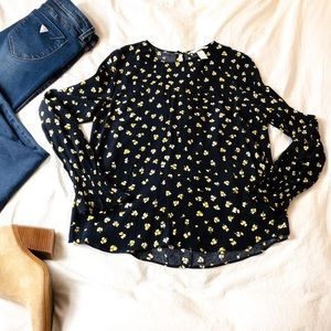 H&M Floral Long Sleeve - Navy & Yellow - Size 4
